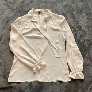 White blouse with pussy bow